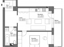 Apartamente 2 camere de 51.41mp, modele open space