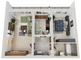 Apartament 2 camere, 53 mp plus terasa, complex nou