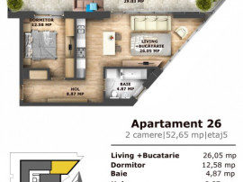 Apartament 2 camere , fatada sticla terasa 30mp, semicentral