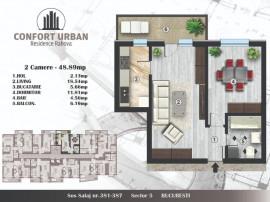 Apartament 2 cam. spatios, sect 5, 49mp, bloc nou Rahova
