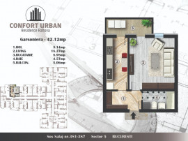 Garsoniera finisata, 42 mp, bloc nou,confort urban,sector 5