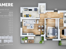 Apartament 3 camere la cheie dezvoltator zona Grand Arena