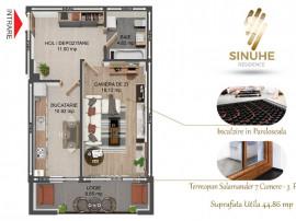 Garsoniera premium,45 mp,balcon 8 mp,incalzire in pardoseala