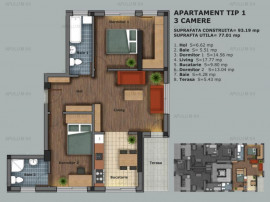 Prelungirea Ghencea, apartament 3 camere, 77mp utili, etaj 1