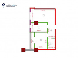 Apartament nou cu 2 camere - open space - 45.69 mp utili