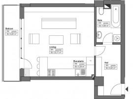Apartament 1 camera, Tatarasi, 46.96 mp