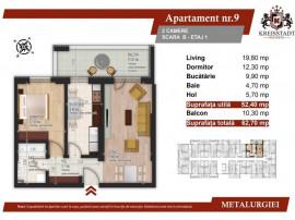 Apartament 2 camere, 62.70 mp utili, etaj 1, sector 4