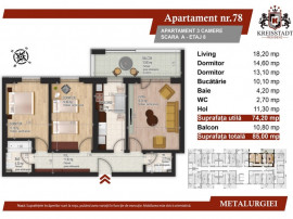 Apartament 3 camere, stradal Metalurgiei, bloc nou