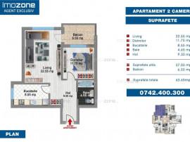 Ap. 2 camere, 64 mp, decomandat, FINISAT MODERN, BLOC NOU...
