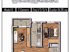 Apartament 2 camere,51 mp, spatios, ,Chiajna Central