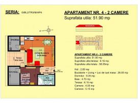 Apartament 2 camere, str Nicolae Labis nr 52- 51.9 mp