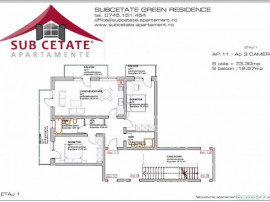 Apartament 3 camere la subcetate green residence