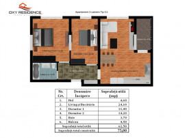 Antiaeriana-Rahova - Apartament 3 camere Tip C1
