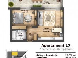 2 camere cu terasa de 35 mp si incalzire in pardoseala!