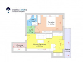 Apartament cu 2 camere open space, 44.7 mp utili
