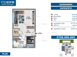 Garsonieră spațioasă, 41 mp, dec., balcon, bucătărie...