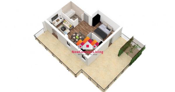 Studio mare cu o camera - 40 mp utili terasa mare de 45 mp