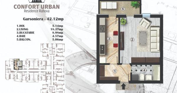 Garsoniera finisata, 42 mp, bloc nou,confort urban,Rahova