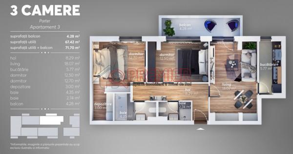 Apartament 3 camere Metalurgiei-Turnu Magurele-pret pentru