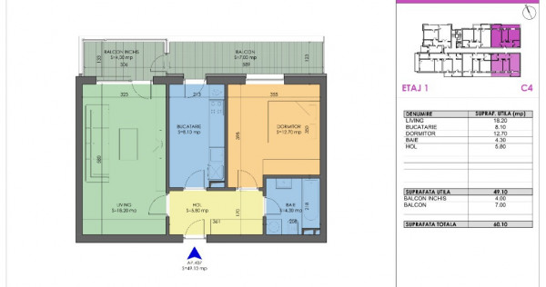 Apartament 2 camere balcon inchis acces Metrou Berceni