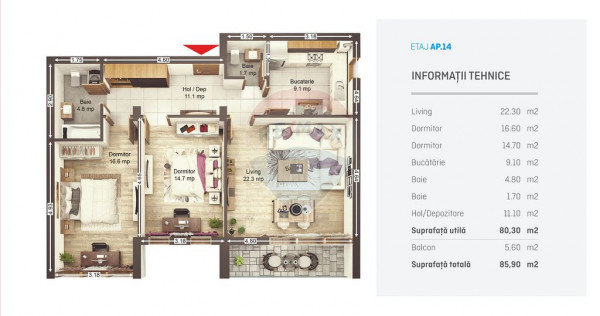 UNO Brasov - Apartament nr 14 C3-C4 - finalizare 2022