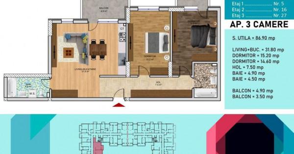 Apartament 3 camere -Pallady-Metrou Nicolae Teclu
