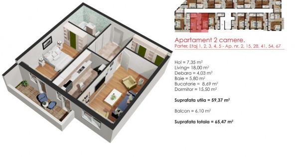 Apartament 2 camere - 65,47MP!!! - Cel mai bun pret!