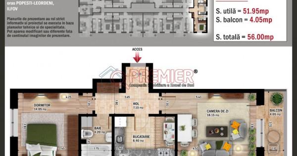Apartament 2 camere decomandat - Primaria Leordeni.