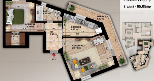Apartament 2 Camere - 65 Mp - Incalzire In Pardoseala