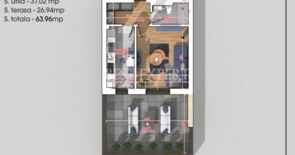 Garsoniera decomandata cu terasa 27 mp | Titan Auchan Direct